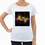 Crazy Multicolored Double Running Splashes Horizon Women s Loose-Fit T-Shirt (White)