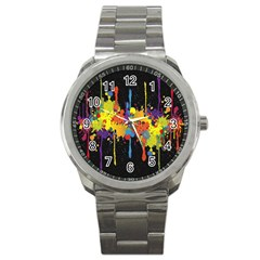 Crazy Multicolored Double Running Splashes Horizon Sport Metal Watch by EDDArt