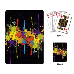 Crazy Multicolored Double Running Splashes Horizon Playing Card by EDDArt