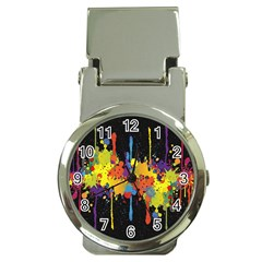 Crazy Multicolored Double Running Splashes Horizon Money Clip Watches by EDDArt