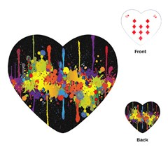 Crazy Multicolored Double Running Splashes Horizon Playing Cards (heart)  by EDDArt