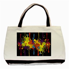 Crazy Multicolored Double Running Splashes Horizon Basic Tote Bag by EDDArt