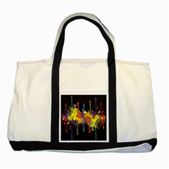 Crazy Multicolored Double Running Splashes Horizon Two Tone Tote Bag by EDDArt