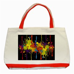 Crazy Multicolored Double Running Splashes Horizon Classic Tote Bag (red) by EDDArt