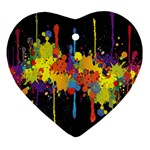 Crazy Multicolored Double Running Splashes Horizon Heart Ornament (2 Sides)