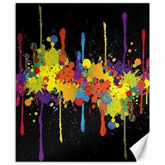 Crazy Multicolored Double Running Splashes Horizon Canvas 8  X 10  by EDDArt