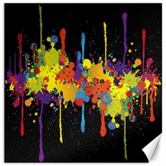 Crazy Multicolored Double Running Splashes Horizon Canvas 16  X 16   by EDDArt