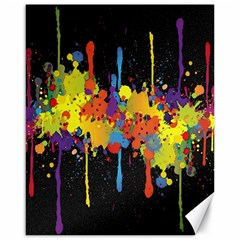 Crazy Multicolored Double Running Splashes Horizon Canvas 16  X 20   by EDDArt
