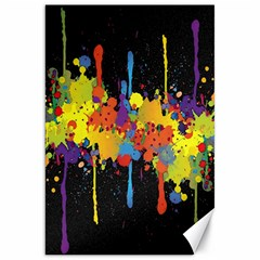 Crazy Multicolored Double Running Splashes Horizon Canvas 20  X 30   by EDDArt