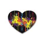 Crazy Multicolored Double Running Splashes Horizon Rubber Coaster (Heart)
