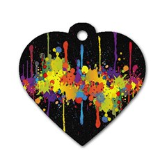 Crazy Multicolored Double Running Splashes Horizon Dog Tag Heart (one Side) by EDDArt
