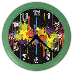 Crazy Multicolored Double Running Splashes Horizon Color Wall Clocks by EDDArt