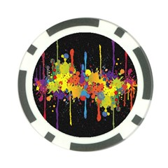 Crazy Multicolored Double Running Splashes Horizon Poker Chip Card Guards (10 Pack)  by EDDArt