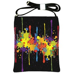 Crazy Multicolored Double Running Splashes Horizon Shoulder Sling Bags by EDDArt