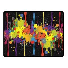 Crazy Multicolored Double Running Splashes Horizon Fleece Blanket (small) by EDDArt
