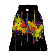 Crazy Multicolored Double Running Splashes Horizon Ornament (bell)  by EDDArt