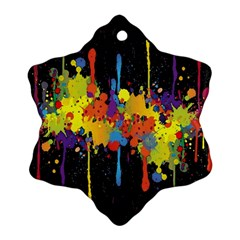 Crazy Multicolored Double Running Splashes Horizon Snowflake Ornament (2 Side) by EDDArt