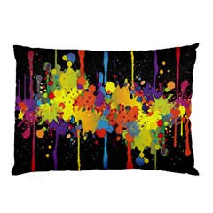 Crazy Multicolored Double Running Splashes Horizon Pillow Case (two Sides) by EDDArt