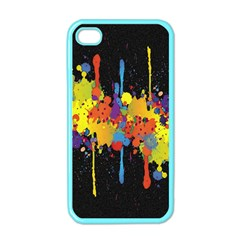 Crazy Multicolored Double Running Splashes Horizon Apple Iphone 4 Case (color) by EDDArt