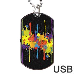 Crazy Multicolored Double Running Splashes Horizon Dog Tag Usb Flash (one Side) by EDDArt