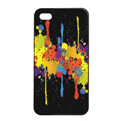 Crazy Multicolored Double Running Splashes Horizon Apple Iphone 4/4s Seamless Case (black) by EDDArt