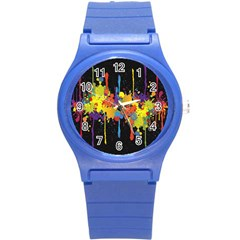 Crazy Multicolored Double Running Splashes Horizon Round Plastic Sport Watch (s) by EDDArt