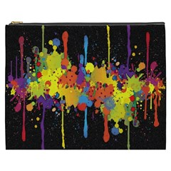 Crazy Multicolored Double Running Splashes Horizon Cosmetic Bag (xxxl)  by EDDArt