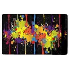 Crazy Multicolored Double Running Splashes Horizon Apple Ipad 2 Flip Case by EDDArt