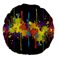 Crazy Multicolored Double Running Splashes Horizon Large 18  Premium Round Cushions by EDDArt
