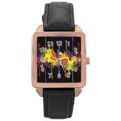 Crazy Multicolored Double Running Splashes Horizon Rose Gold Leather Watch  by EDDArt