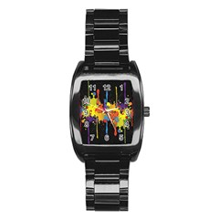 Crazy Multicolored Double Running Splashes Horizon Stainless Steel Barrel Watch by EDDArt