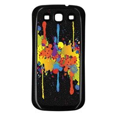 Crazy Multicolored Double Running Splashes Horizon Samsung Galaxy S3 Back Case (black) by EDDArt