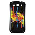 Crazy Multicolored Double Running Splashes Horizon Samsung Galaxy S3 Back Case (Black)