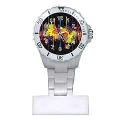 Crazy Multicolored Double Running Splashes Horizon Plastic Nurses Watch by EDDArt