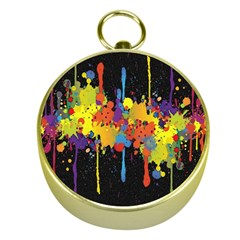 Crazy Multicolored Double Running Splashes Horizon Gold Compasses by EDDArt
