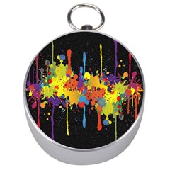 Crazy Multicolored Double Running Splashes Horizon Silver Compasses by EDDArt