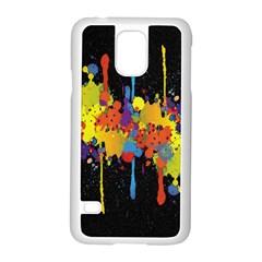 Crazy Multicolored Double Running Splashes Horizon Samsung Galaxy S5 Case (white) by EDDArt