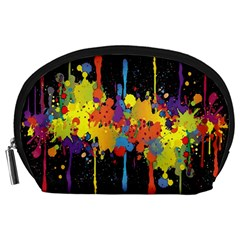 Crazy Multicolored Double Running Splashes Horizon Accessory Pouches (large)  by EDDArt