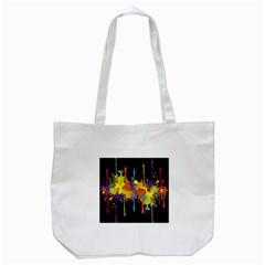 Crazy Multicolored Double Running Splashes Horizon Tote Bag (white) by EDDArt