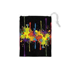 Crazy Multicolored Double Running Splashes Horizon Drawstring Pouches (small)  by EDDArt