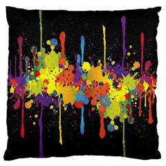Crazy Multicolored Double Running Splashes Horizon Standard Flano Cushion Case (two Sides) by EDDArt