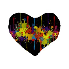 Crazy Multicolored Double Running Splashes Horizon Standard 16  Premium Flano Heart Shape Cushions by EDDArt