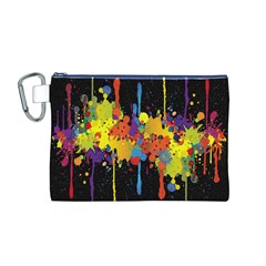 Crazy Multicolored Double Running Splashes Horizon Canvas Cosmetic Bag (m) by EDDArt