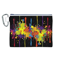 Crazy Multicolored Double Running Splashes Horizon Canvas Cosmetic Bag (l) by EDDArt