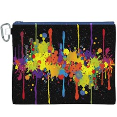 Crazy Multicolored Double Running Splashes Horizon Canvas Cosmetic Bag (xxxl) by EDDArt