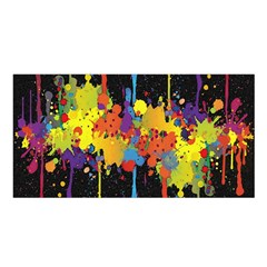 Crazy Multicolored Double Running Splashes Horizon Satin Shawl by EDDArt