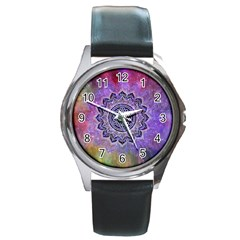 Flower Of Life Indian Ornaments Mandala Universe Round Metal Watch by EDDArt