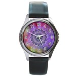 Flower Of Life Indian Ornaments Mandala Universe Round Metal Watch