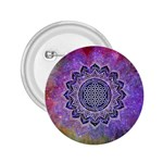 Flower Of Life Indian Ornaments Mandala Universe 2.25  Buttons