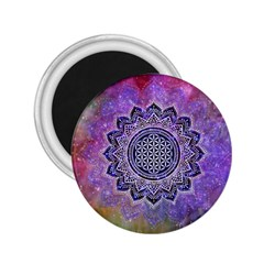 Flower Of Life Indian Ornaments Mandala Universe 2 25  Magnets by EDDArt